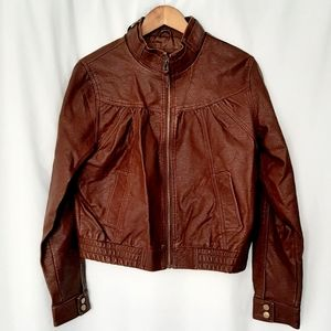 First Kiss Faux Leather Bomber Jacket